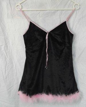 Samt Top dessous mit straußenfedern in Schwarz/Pink von WISH aus USA Gr.S Neu