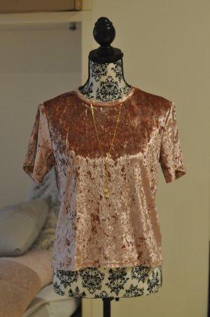 Samt Top Shirt Rosa Rose T-Shirt Blogger M L 38 40