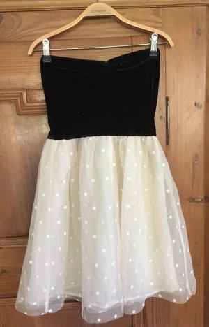 Bershka Vestido corsage negro-crema