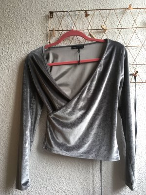 Bershka Wraparound Blouse silver-colored