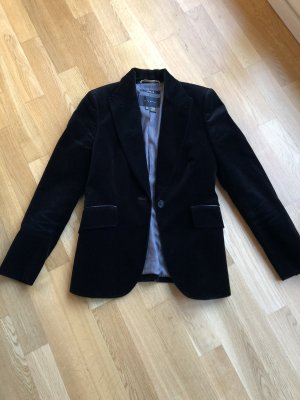 Samtblazer Schwarz Zara