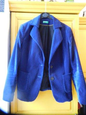 Benetton Blazer de lana azul tejido mezclado