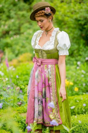 Vestido Dirndl verde oliva-rosa Algodón