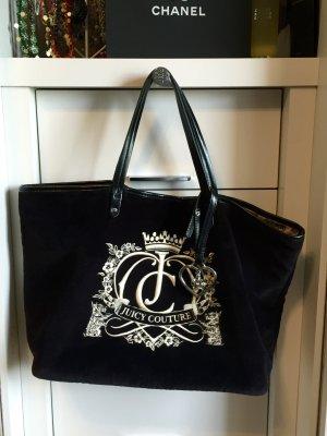 Samtige Tasche * Shopper * von Juicy Couture * mit Stickerei und Anhänger