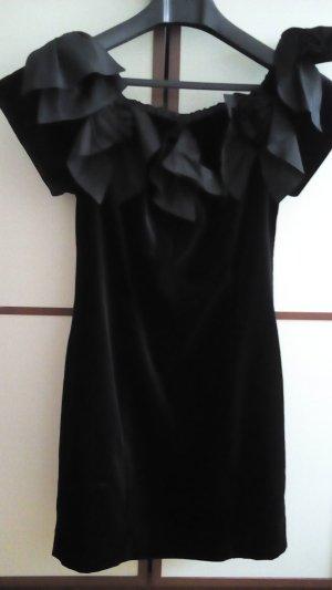 Samtkleid mit Schleifen in Schwarz 38