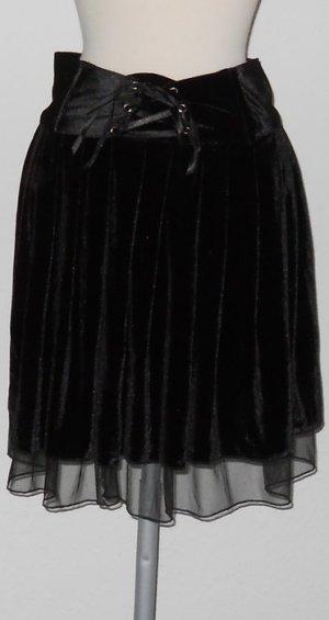 Samtrock Rock + Frontschnüre + Chiffon Gr 36 S gothic Medival Hexe WGT Neu Metal