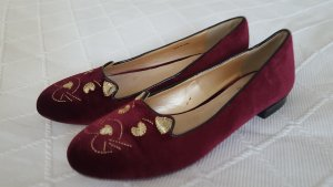 Even & Odd Slippers gold-colored-bordeaux
