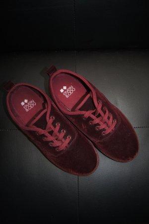 Samtschuhe, Schuhe aus rotem Samt, Farbe: Burgund, von Even & Odd