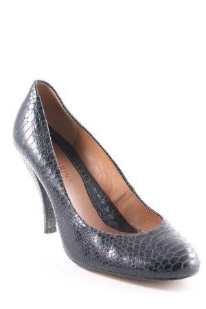 San Marina High Heels black-beige animal pattern reptile print