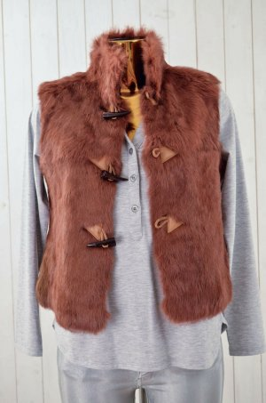 Fur vest cognac-coloured-brown fur