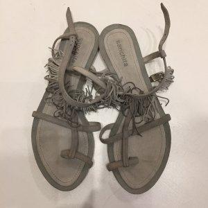 Sandalo infradito con tacco alto grigio-grigio chiaro