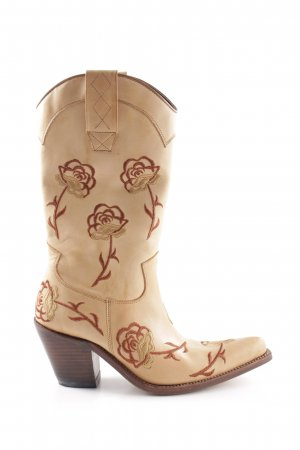 Sancho Western Boots cream-brown extravagant style