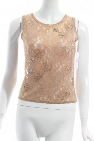 Sand Spitzentop sandbraun florales Muster Party-Look