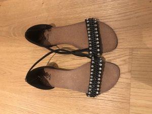 Bata Sandalen met bandjes zwart-zilver