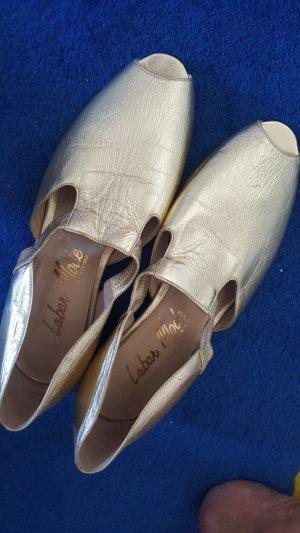 Sandale aus Leder in Gold ital. design