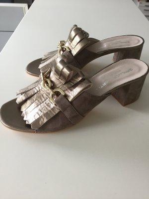 Sandale Guccilook, Fransen taupe golden Gr39 NEU Leder