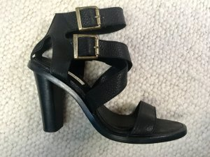Zara High Heel Sandal black-gold-colored leather