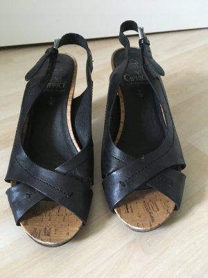 Sandale mit Absatz Kork schwarz 38