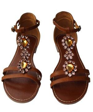 Sandale mit Dekosteinen, braun, Größe 39,  Fritzi aus Preußen, 100 % Lederfrei
