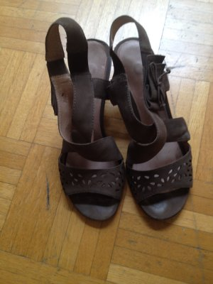 Tamaris Wedge Sandals grey brown leather