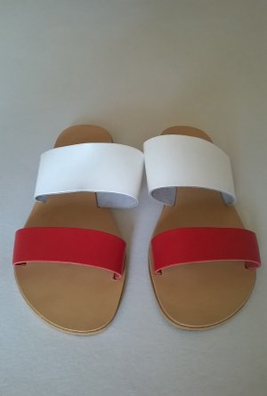 Sandale Pantolette Schlappen rot/weiß