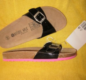 Sandale Sandalen Clogs Holz Schuhe Holzclogs Holzschuhe schwarz Lack Leder Decksohle 39 6 verstellbar