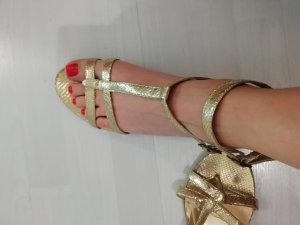 Sandale Sandalen Gold Metallic Reptil Kroko Look Riemchen