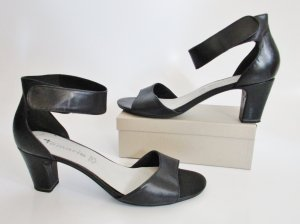Sandale Tamaris Leder Pumps Größe 40 Schwarz Antishock PeepToe Sandalette Abendschuhe Schuhe