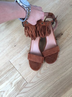 Strapped High-Heeled Sandals cognac-coloured-brown