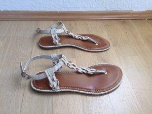 Sandale / Zehentrenner creme gold, Gr. 37,5