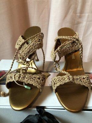 Escarpins à lacets beige-bronze