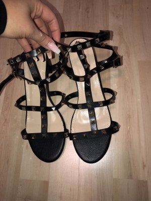 Sandals black-gold-colored