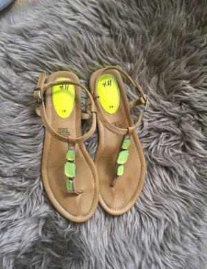 H&M Teenslippers beige-neon groen
