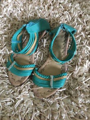 Sandalo con cinturino turchese-beige