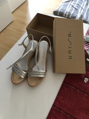 Unisa Comfort Sandals silver-colored leather