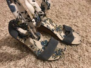 Plateauzool Sandalen met Hoge Hakken korenblauw-wit Leer