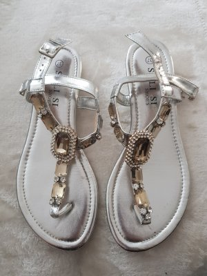 Strapped High-Heeled Sandals silver-colored-gold-colored