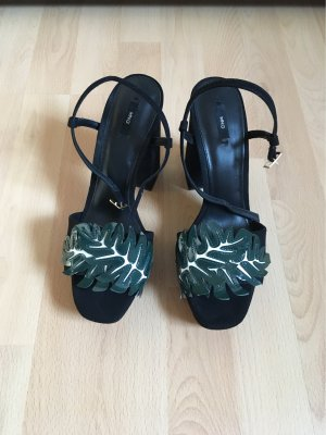 Mango Platform High-Heeled Sandal black-dark green