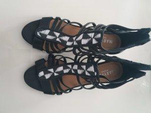 Sandales à talons hauts et lanière blanc-noir