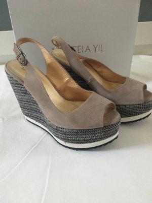 Sandalo con plateau marrone-grigio-grigio scuro