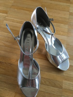 Lilly Strapped High-Heeled Sandals silver-colored-light grey
