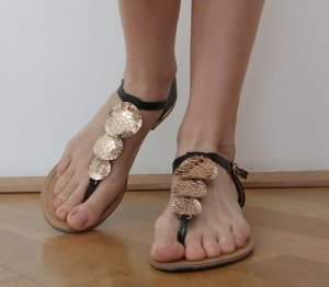Roman Sandals black-gold-colored imitation leather