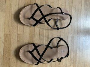 Cox Romeinse sandalen zwart-lichtbruin