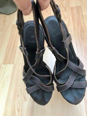 Zara Clog Sandals brown leather