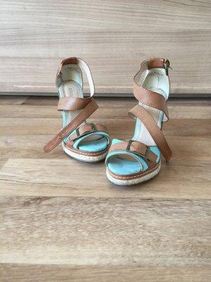 Sandalias con plataforma marrón claro-azul claro