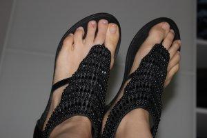 Black Lily Sandalo toe-post nero Pelle
