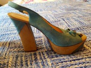 5th Avenue Platform Sandals azure