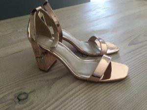Sandalen, Blockabsatz, High Heels, ASOS Gr. 41 (passen auch 40) Kupfer Roségold