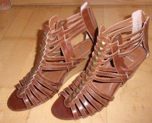 Platform High-Heeled Sandal brown imitation leather