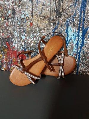 Sandalen braun mit Strass